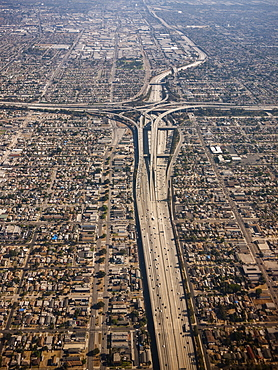 Aerial view of cityscape showing dense urban areas and roadways, Los Angeles, California, United States of America
