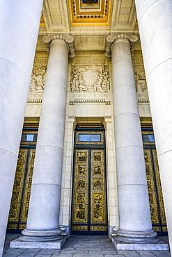 Ornate doorway, facade and columns on a building, Havana, Cuba