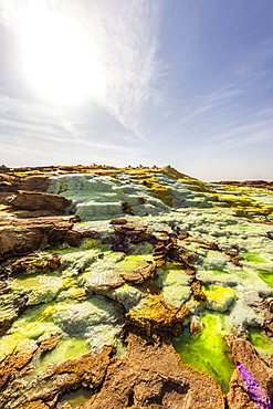 Acidic pools, mineral formations, salt deposits in the crater of Dallol Volcano, Danakil Depression, Afar Region, Ethiopia