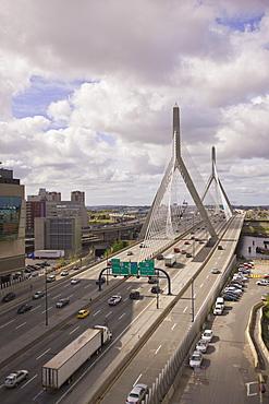 Traffic on a suspension bridge, Leonard P. Zakim Bunker Hill Bridge, Boston, Suffolk County, Massachusetts, USA