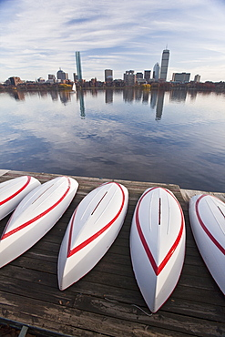 Boats at the MIT Boathouse, Back Bay, Charles River, Boston, Suffolk County, Massachusetts, USA