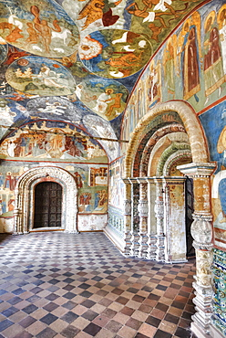 Church of Elijah the Prophet, with ornate arched doorways and colourful frescoes; Yaroslavl, Yaroslavl Oblast, Russia