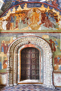 Church of Elijah the Prophet, with ornate arched doorway and colourful frescoes; Yaroslavl, Yaroslavl Oblast, Russia