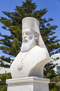 Bust of Bishop Neophitos, Founder, Orthodox Cathedral (1870); Chora, Naxos Island, Cyclades, Greece