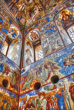 Fresco, Gate-Church of the Resurrection (1670), Kremlin, Golden Ring; Rostov Veliky, Yaroslavl Oblast, Russia