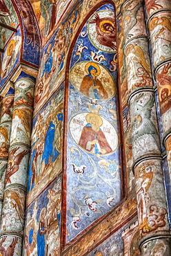 Frescoes, Gate Church of the Resurrection (1670), Kremlin, Golden Ring; Rostov Veliky, Yaroslavl Oblast, Russia