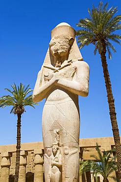 Statue of Ramses II, Great Court, Karnak Temple Complex, UNESCO World Heritage Site; Luxor, Egypt