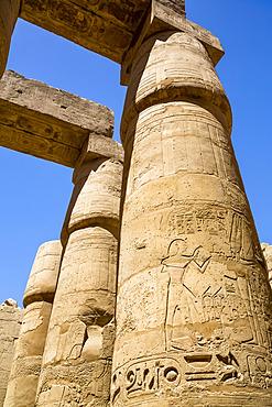 Columns, Great Hypostyle Hall, Karnak Temple Complex, UNESCO World Heritage Site; Luxor, Egypt