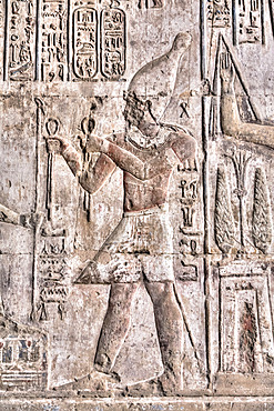 Relief of Pharaoh, Temple of Osiris and Opet, Karnak Temple Complex, UNESCO World Heritage Site; Luxor, Egypt