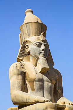 Colossus of Ramses II, Court of Ramses II, Luxor Temple, UNESCO World Heritage Site; Luxor, Egypt