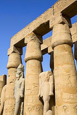 Columns in the Court of Ramses II, Luxor Temple, UNESCO World Heritage Site; Luxor, Egypt