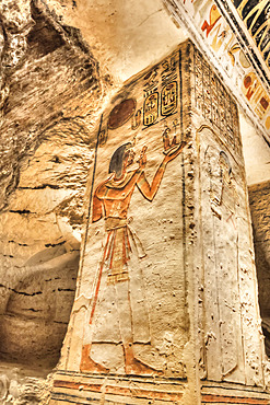 Relief on Square Pillar, Tomb of Ramses V & VI, KV9, Valley of the Kings, UNESCO World Heritage Site; Luxor, Egypt