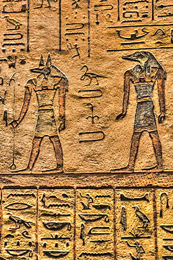 Gods Anubis (left) and Sobek (right), Tomb of Ramses III, KV #11, Valley of the Kings, UNESCO World Heritage Site; Luxor, Egypt