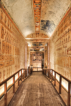 Hallway to Burial Chamber, Tomb of Ramses IV, KV2, Valley of the Kings, UNESCO World Heritage Site; Luxor, Egypt