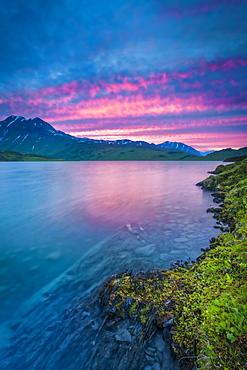 Lost Lake at sunset, Chugach National Forest, Kenai Peninsula, South-central Alaska in summertime; Seward, Alaska, United States of America