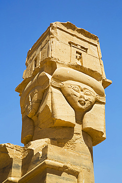 Hathor Headed Column, Kiosk of Qertassi, Kalabsha, UNESCO World Heritage Site, near Aswan; Egypt