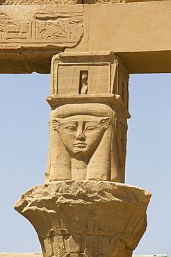 Goddess Hathor Columns, Vestibule of Nectanebo, Temple of Isis, UNESCO World Heritage Site; Philae Island, Aswan, Egypt