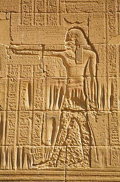 Relief, Temple of Isis, UNESCO World Heritage Site; Philae Island, Aswan, Egypt