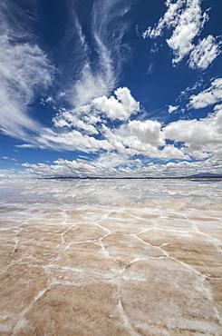 Salar de Uyuni, the world's largest salt flat, during the wet season (December-February); Potosi Department, Bolivia