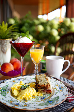 A lovely breakfast served at a bed and breakfast accommodation; British Columbia, Canada