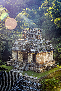 Temple of the Sun ruins of the Maya city of Palenque; Chiapas, Mexico