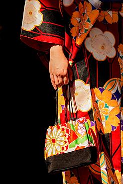 Details of a Japanese woman's handbag and geisha dress at a temple; Tokyo, Japan