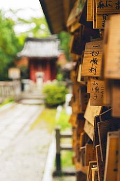 Scriptures written in Japanese on wooden tiles at a temple; Kyoto, Kansai, Japan