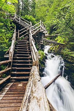 Waterfall in Canyon des Portes de l'Enfer; Saint-Narcisse-de-Rimouski, Quebec, Canada