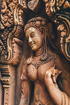 Detail of the carved facade at Banteay Srei Temple, Angkor Wat complex; Siem Reap, Cambodia