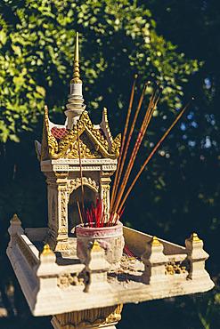 Small Hindu shrine and incense, Phimeanaka; Angkor, Cambodia