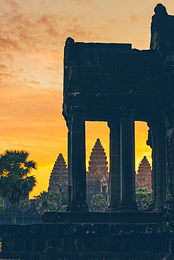 Sunset at Angkor Wat Temple in the Angkor Wat complex; Siem Reap, Cambodia
