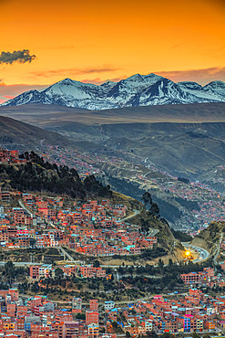 Andes mountains around La Paz at sunset; La Paz, Pedro Domingo Murillo, Boliva