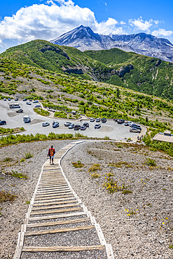 Stairs leading up from the Windy Ridge Trailhead parking lot, the Mount Saint Helens caldera in the background; Randle, Washington, United States of America