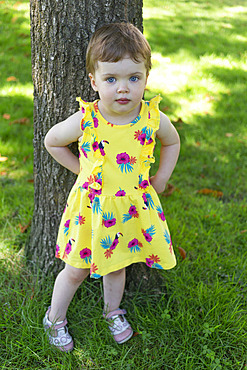 Portrait of a toddler girl standing against a tree trunk; British Columbia, Canada