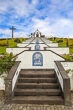 Decorative stairway leading uphill to the Our Lady of Peace Chapel (Ermida de  Nossa Senhora da Paz) overlooking Vila Franca Do Campo; Sao Miguel Island, Azores