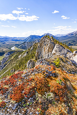 Scenery from the summit of Sapper Hill, with colourful lichen on the rock in the foreground and mountains in the distance; Yukon, Canada
