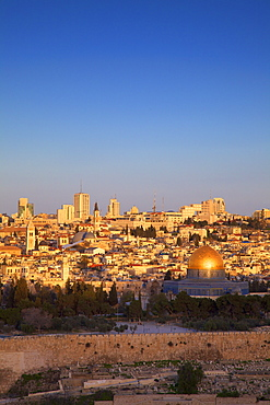 View of Jerusalem from The Mount of Olives, Jerusalem, Israel, Middle East