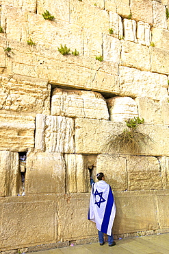 Worshipper at The Western Wall, UNESCO World Heritage Site, Jerusalem, Israel, Middle East