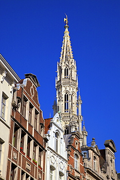 Town Hall Spire, Grand Place, UNESCO World Heritage Site, Brussels, Belgium, Europe