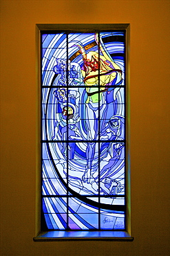 The Solar System, a stained glass window by Stanislaw Wyspianski in the Society of Physicians Building, Krakow (Cracow), Poland, Europe