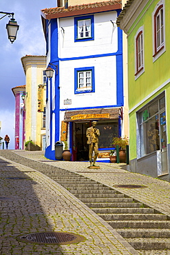 Colourful Main Street of Monchique, Western Algarve, Algarve, Portugal, Europe