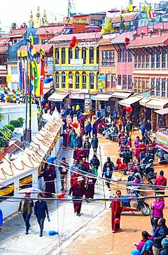 Buddhist pilgrims making the kora, Boudhanath Stupa, largest Asian Stupa, UNESCO World Heritage Site, Kathmandu, Nepal, Asia