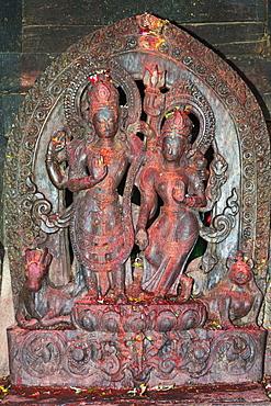 Statue of temple deity, Uma Maheshwar Temple, Kirtipur, Nepal, Asia