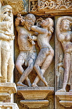 Sculptures on the walls of Lakshmana Temple, Khajuraho Group of Monuments, UNESCO World Heritage Site, Madhya Pradesh state, India, Asia