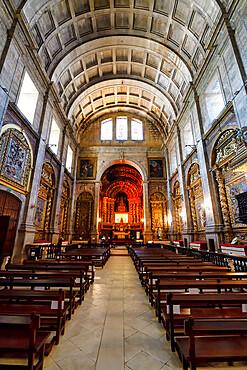 Monastery of Santa Clara-a-Nova, Central nave and main altar of the Church, Coimbra, Beira, Portugal
