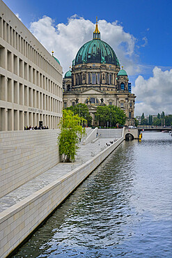 The Berlin Palace or Humboldt Forum along the Spree river and the Berliner Dom, Unter den Linden, Berlin, Germany