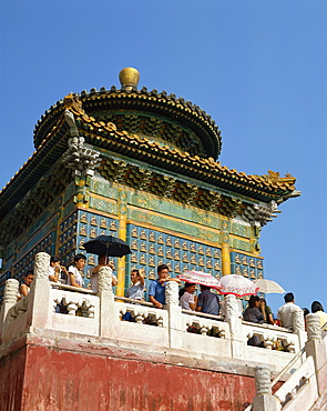 Visitors on the White Dagoba in Beihai Park in Beijing, China, Asia