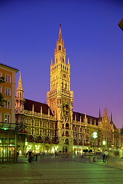 The Town Hall at night in the city of Munich, Bavaria, Germany, Europe