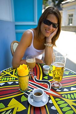 Young woman in cafe, Tallinn, Estonia, Europe