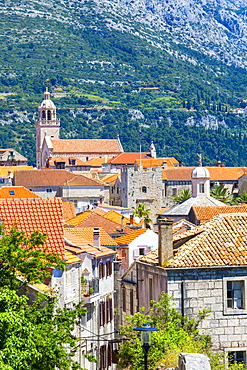 Elevated view over picturesque Korcula Town, Korcula, Dalmatia, Croatia, Europe